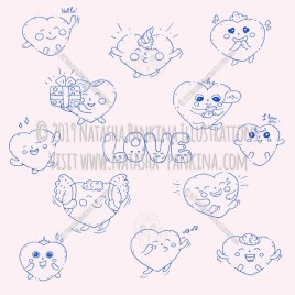 Hearts. Hand Drawn Doodle Love kawaii Icons Collection. - Natasha Pankina Illustrations