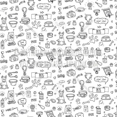 Pet. Hand Drawn Doodle Vet Icons Collection. Seamless background. Unseamed pattern. - Natasha Pankina Illustrations