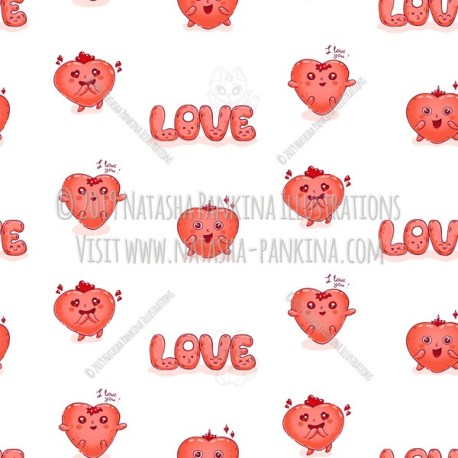 Seamless background. Hearts. Hand Drawn Doodle Love Kawaii Colored Icons Collection. - Natasha Pankina Illustrations