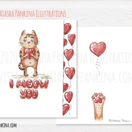 """description: Hand drawn cute kitty with heart and sign """"I meow you"""", made using raw materials: watercolor paint, pencil. Lovely Valentine's Day illustration keywords: watercolor, cat, kitty, valentine's day, cute, hand drawn, meow, heart, card, love, mother's day, i love you, drawing, illustration, watercolour, character, happy, white, cartoon, heart, present, gift, funny, concept, cute, design, design element, doodle, freehand drawing, graphic, hand drawn, happy valentines day, icon collection, icon set, illustration, outlined, romantic, sign, sketch, symbol, texture, valentine, valentine's day, i meow you, lovely, graphic design, raw materials, pencil, colorful illustrator: Natasha Pankina Natasha Pankinahttps://store.natasha-pankina.com/copyright-notice-per-image-metadata/"""
