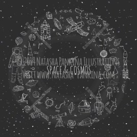 Space. Hand Drawn Doodle Cosmos Icons Collection. Wreath shaped. Ring shape. With place for your text. Chalkboard style. - Natasha Pankina Illustrations