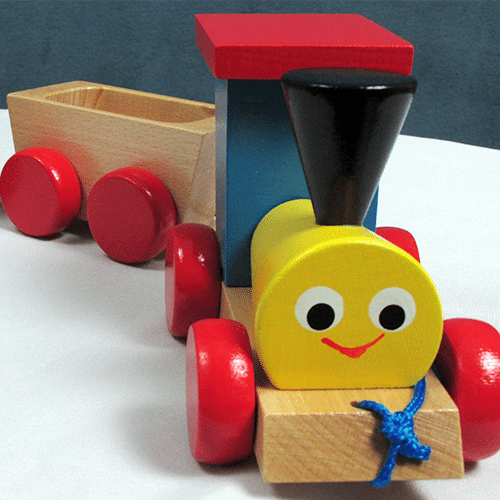 Wooden Multicolored Train with Cars