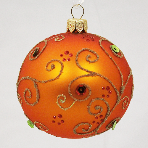 Orange Ball Ornament with Jewels