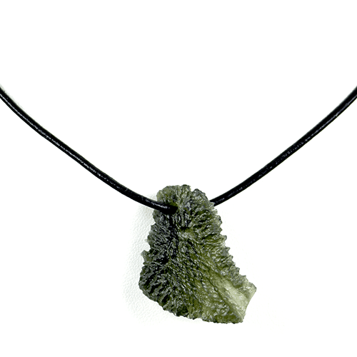Organic Moldavite Pendant on Leather Strap