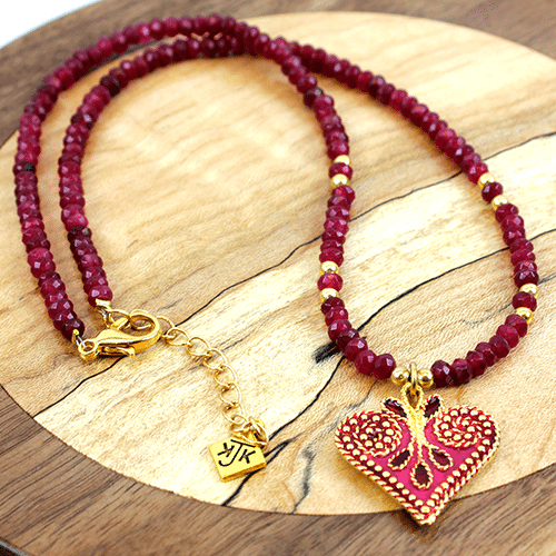 Heart Charm Collection in Pink by KJK Jewelry