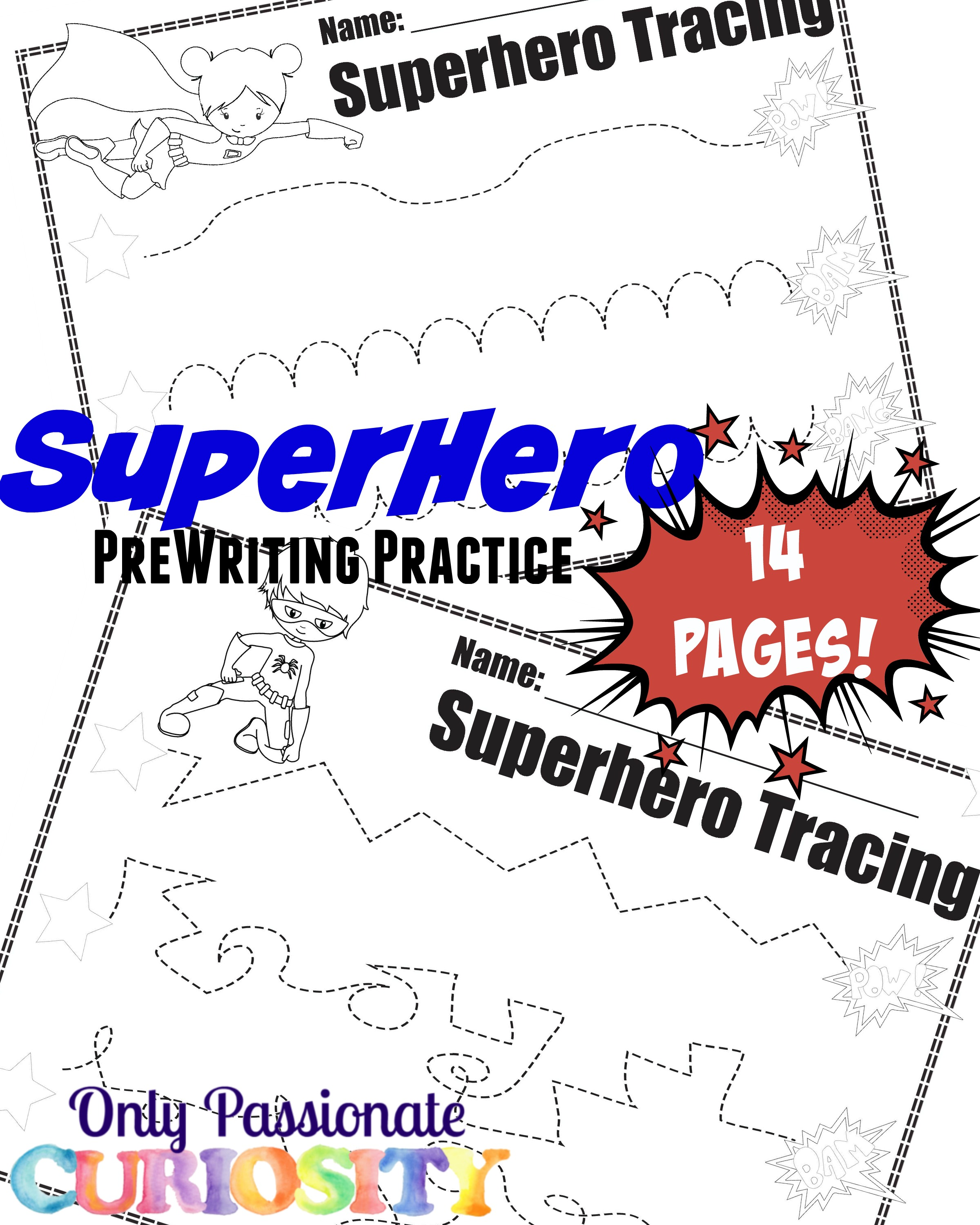 Super Hero Pre Writing Pack