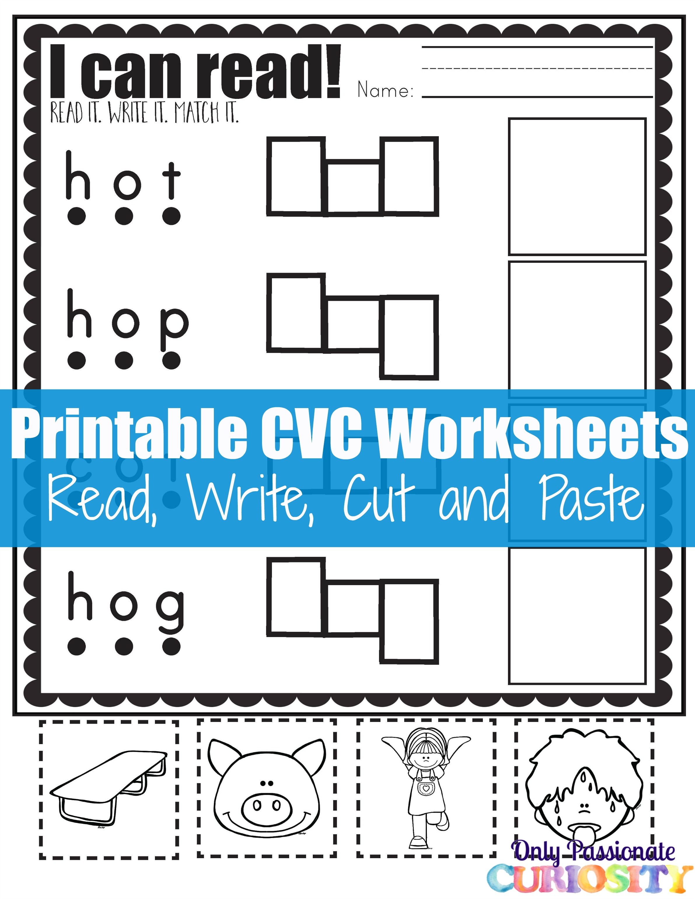 Cvc Worksheet Four Letters