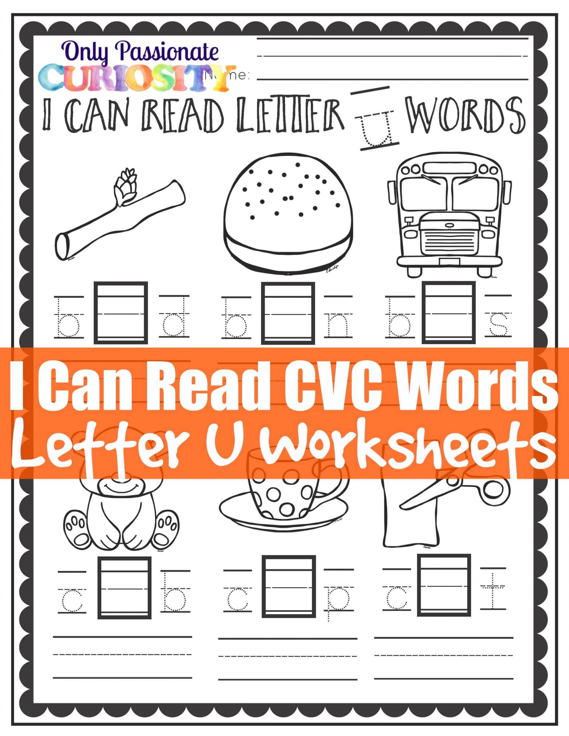 Cvc Worksheets Middle U Words