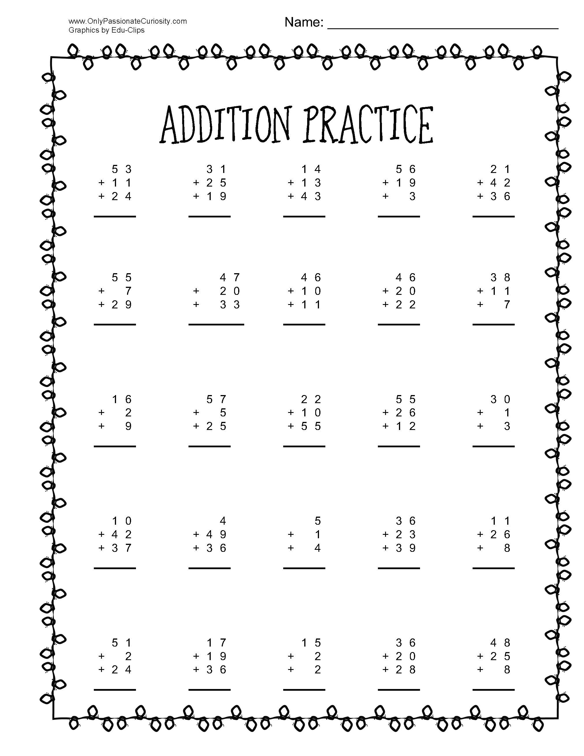 Christmas Math Practice Addition And Subtraction With 3 Numbers