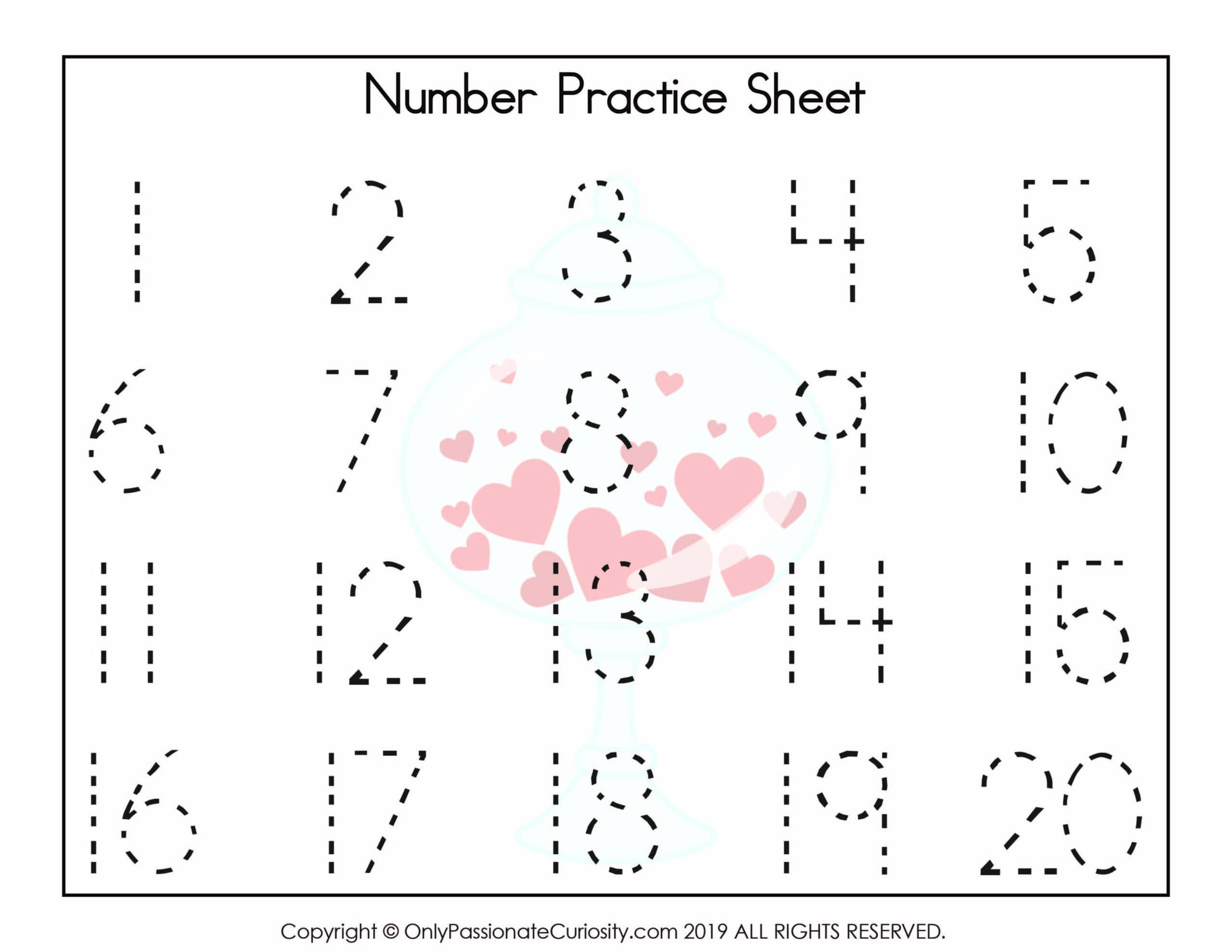 Valentine Numbers Hearts 1 20