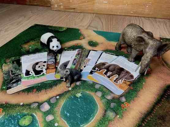 """Kit Pédagogique """"Espèces protégées"""" : tapis de jeu + figurines Schleich + Mémory"""