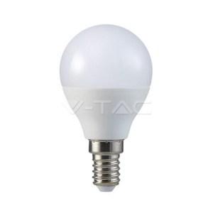 bombilla led e14 p45 v-tac 7w-55w luz calida 750lm golfball l7321uc