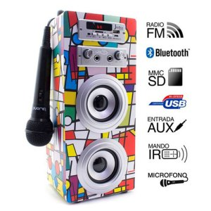 altavoces biwond joybox karaoke portable 10w bt sd radio microfono picasso