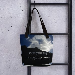 The best journeys are always unexpected. in Sindarin and Tengwar on a Tote bag