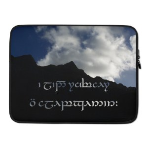 The best journeys are always unexpected. in Sindarin and Tengwar on a Laptop Sleeve