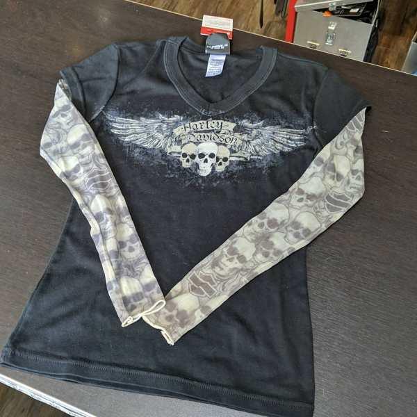 HARLEY DAVIDSON Textile Tattoo sleeved T-SHIRT | 25725