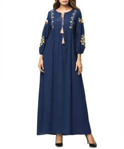 Women embroidered maxi dress