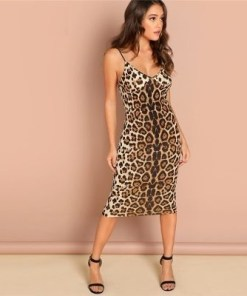Leopard Printed Party Dress Sleeveless