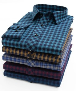 Men plaid long sleeve shirt