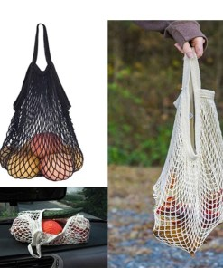 Reusable mesh shopping tote bag