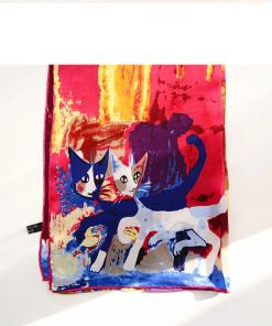Cat Themed 100% Natural Silk Scarf