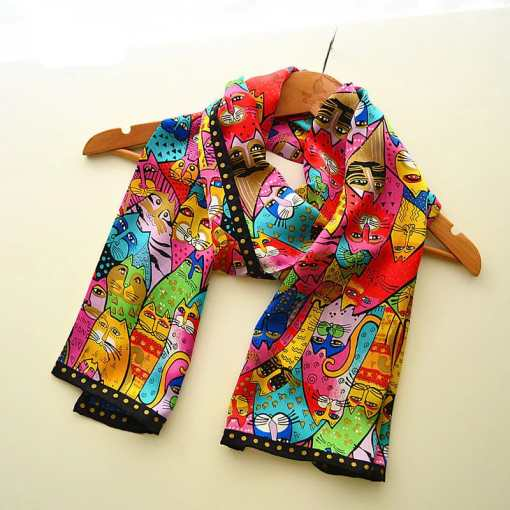Colorful Silk Cat Scarf