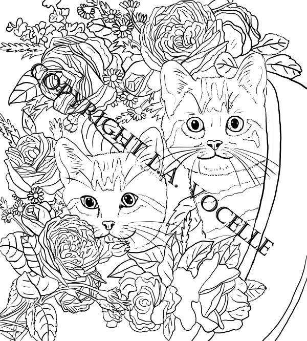 Cats and Flowers Coloring Book Page,Two Kittens in a Pot with Flowers from Cats and Flowers Coloring Book by L.A.Vocelle is now available for instant download from The Great Cat Store
