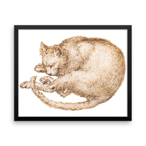 Leonardo da Vinci: Drawing of a Cat, 15th Century, Framed Cat Art Poster, 16×20
