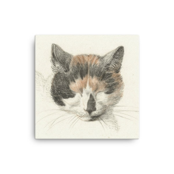 Jean Bernard: Study of a Calico Cat's Head, 18th C., Canvas Cat Art Print, 12×12