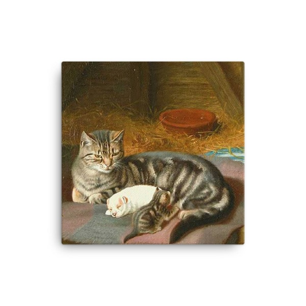 Horatio Henry Couldery: The Unexpected Guest, 1894, Canvas Cat Art Print, 12×12