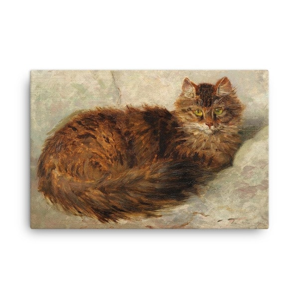 Henriette Ronner-Knip: Brown Cat Lying Down, Canvas Cat Art Print, 24×36