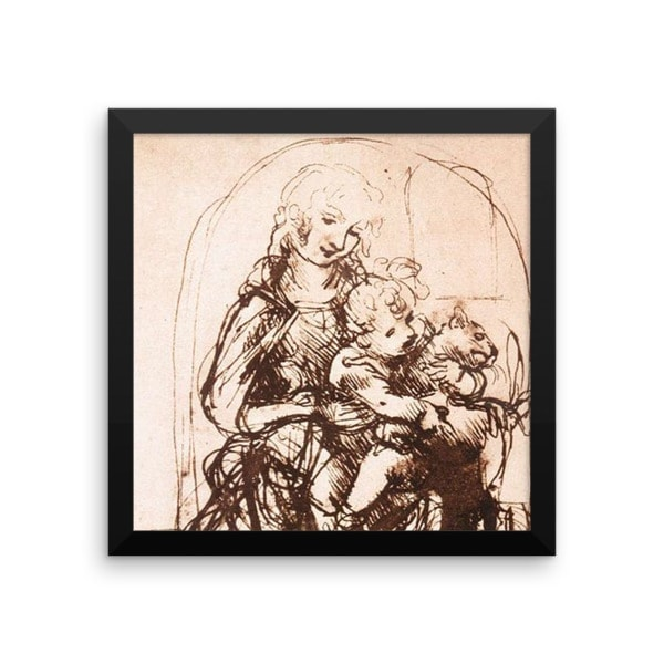 Leonardo da Vinci: Study of the Madonna and Child with a Cat, 1478, Framed Cat Art Poster, 16×16