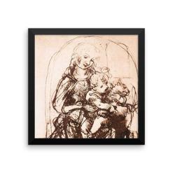 Leonardo da Vinci: Study of the Madonna and Child with a Cat, 1478, Framed Cat Art Poster