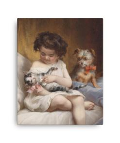 Carl Reichert: Little Girl Playing with Kitten, 1886, Canvas Cat Art Print
