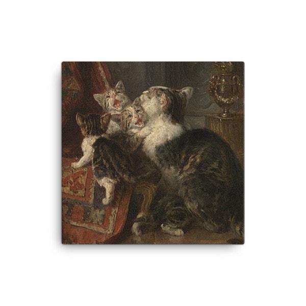 Louis Eugene Lambert: Mother Cat and Kittens, 19th century, Canvas Cat Art Print, 12×12