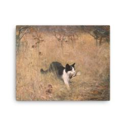 Bruno Liljefors: Cat Hunting, 1883, Canvas Cat Art Print