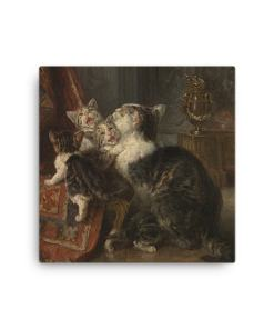 Louis Eugene Lambert: Mother Cat and Kittens, 19th century, Canvas Cat Art Print