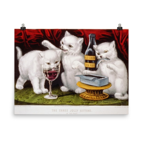 Currier and Ives: Three Jolly Kittens, 1871, Cat Art Poster, 18×24