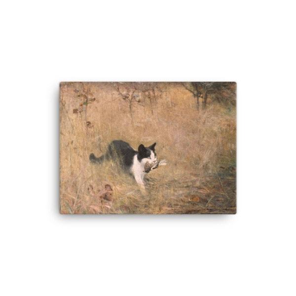 Bruno Liljefors: Cat Hunting, 1883, Canvas Cat Art Print, 12×16