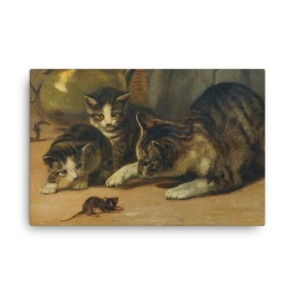 John Henry Dolph: Playing Cat and Mouse, 19th Century, Canvas Cat Art Print, 24×36
