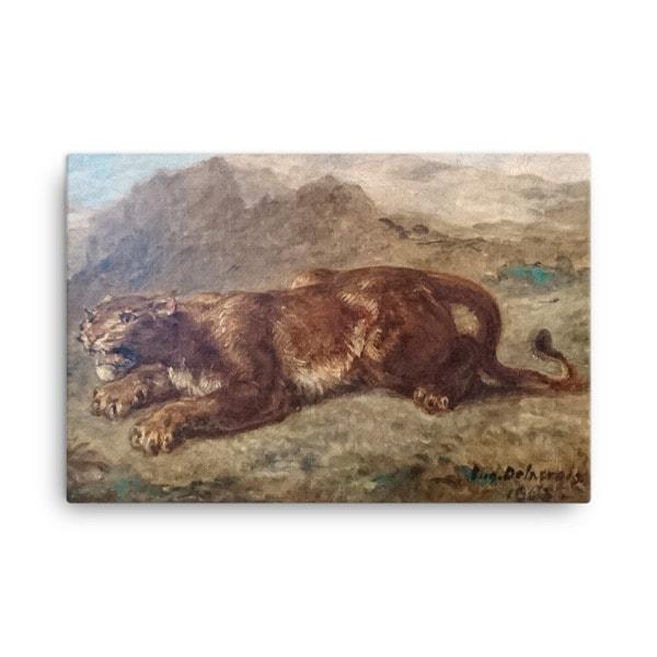 Eugene Delacroix: Lion Stalking, 1863, Canvas Cat Art Print, 18×24
