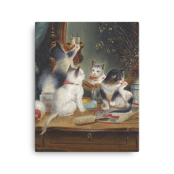 Carl Reichert: Kittens in the Boudoir, Before 1918, Canvas Cat Art Print, 16×20