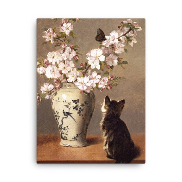 John Henry Dolph: The Butterfly, 1870, Canvas Cat Art Print, 18×24