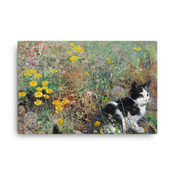 Bruno Liljefors: Cat in the Flowerbed, 1887, Canvas Cat Art Print, 24×36