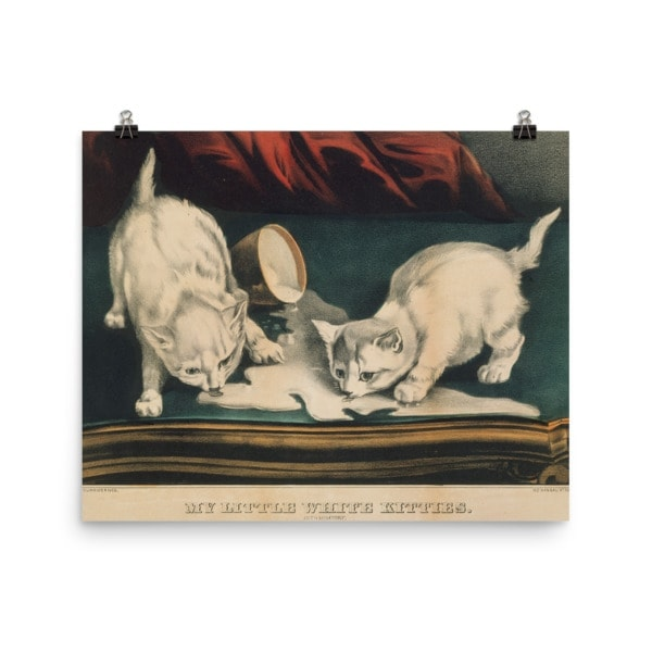 Currier and Ives: My Little White Kitties in Mischief, 1871, Cat Art Poster, 16×20