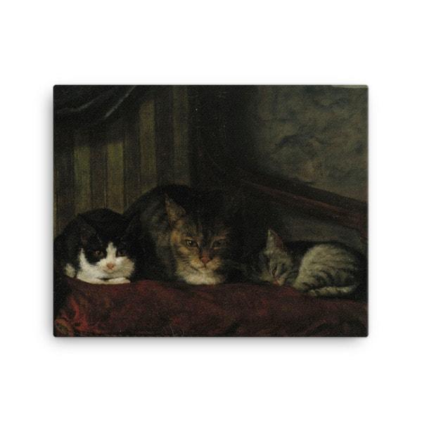 Adolf Von Becker: Cats in a Chair, 1863, Canvas Cat Art Print, 16×20