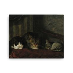 Adolf Von Becker: Cats in a Chair, 1863, Canvas Cat Art Print
