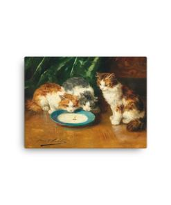 Alfred Brunel de Neuville: What's that then?, Before 1941, Canvas Cat Art Print, 12x16