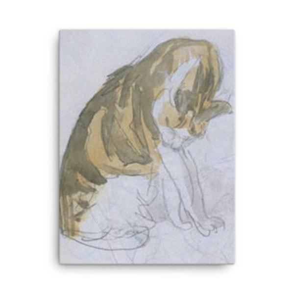 Gwen John: Cat Cleaning Itself, 20th Century, Canvas Cat Art Print, 18×24