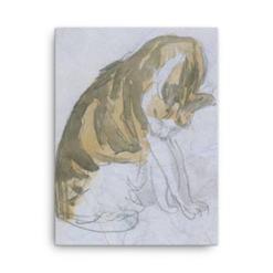 Gwen John: Cat Cleaning Itself, 20th Century, Canvas Cat Art Print